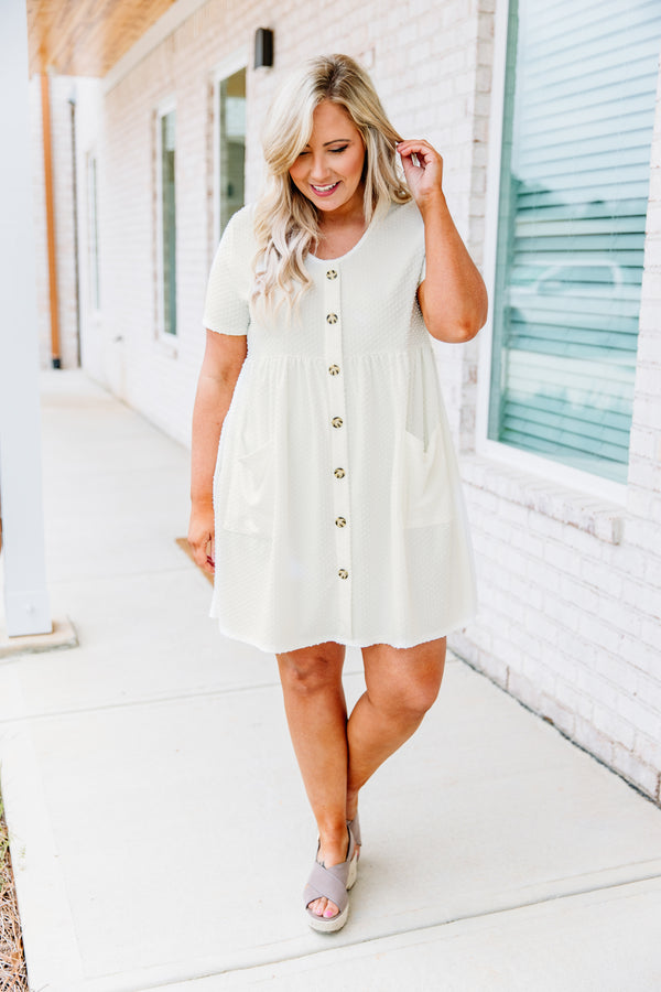 dress, short, short sleeve, scoop neck, button down, babydoll, pockets, flowy, textured fabric, white, comfy, spring, summer