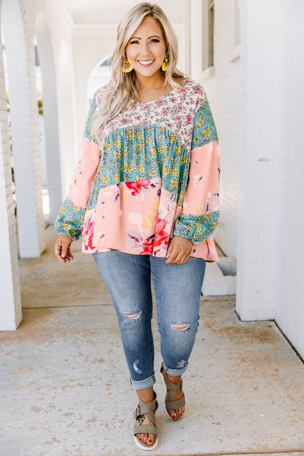 shirt, long sleeve, slightly puff sleeves, multiple patterns, color black, floral, white, sage, pink, yellow, loose, comfy, spring, summer