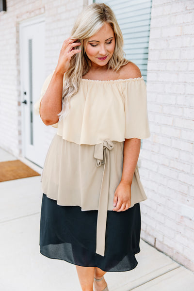 dress, midi, short sleeve, off the shoulder, tie waist, ruffles, tiered, butter, tan, black, colorblock, comfy, loose