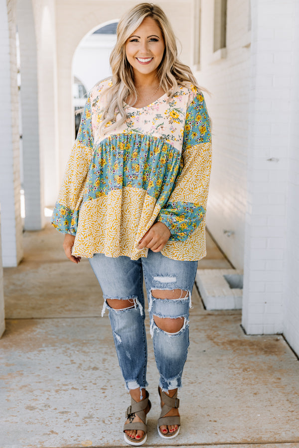 shirt, long sleeve, loose, comfy, v neck, color block, blush, green, yellow, floral prints