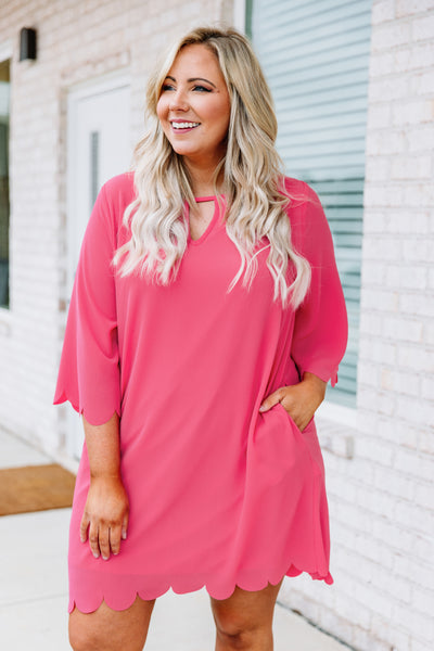 dress, short, three quarter sleeve, cutout vneck, scalloped hems, loose, pockets, pink, comfy, bright