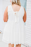 dress, short, sleeveless, babydoll, tiered, flowy, ruffled neckline, bow back, white, comfy, spring, summer