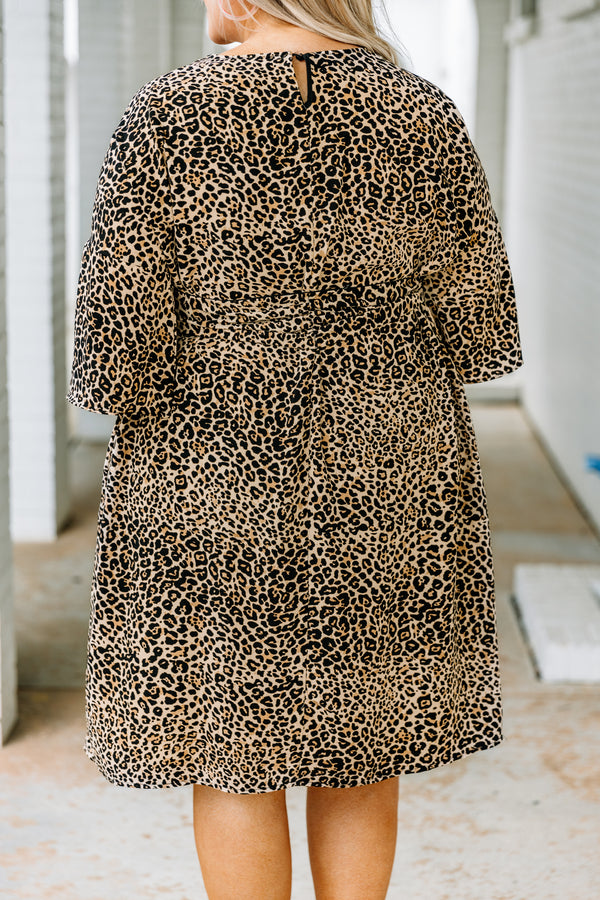 dress, short, three quarter sleeve, ruffle detail, tied waist, loose, black, taupe, leopard, pockets, comfy