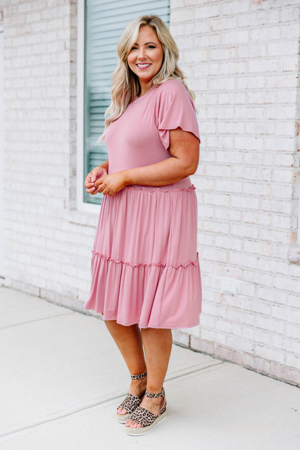 dress, short, short sleeve, babydoll, tiered, ruffles, flowy, pink, comfy