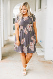 dress, short, short sleeve, babydoll, flowy, gray, floral, pink, white, green, comfy, spring, summer