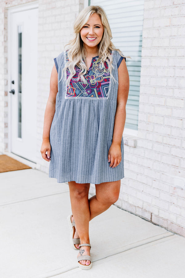 dress, short, sleeveless, vneck, flowy, blue, white, striped, embroidery, red, orange, yellow, comfy, spring, summer