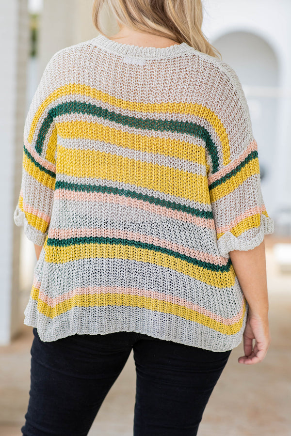 top, sweater, yellow, green, peach, gray, striped, three quarter sleeves