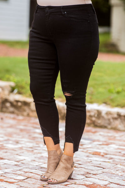 jeans, distressed, frays, black, solid, neutral, black, pockets, figure flattering, bottoms