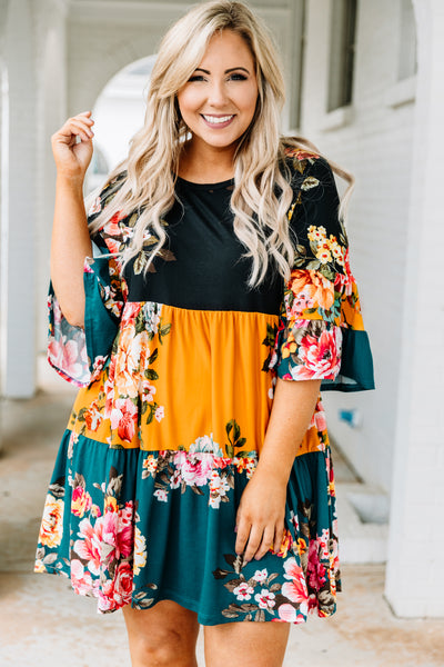 dress, short, three quarter sleeve, bell sleeves, babydoll, tiered, flowy, mixed floral, colorblock, black, mustard, teal, pink, white, green, yellow, blue, comfy