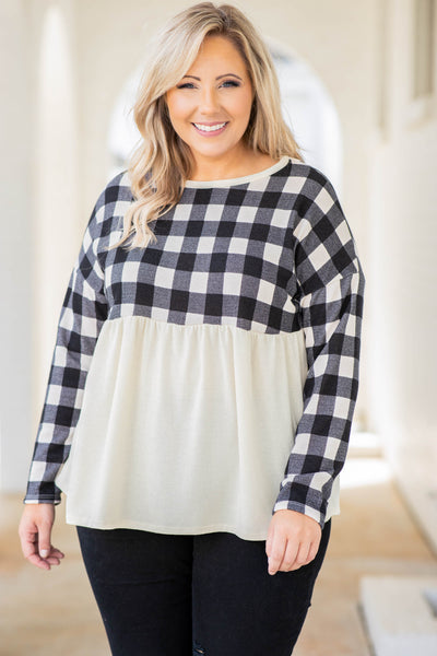 plaid, baby doll, top, black, white, long sleeve, flowy, figure flattering, round neck