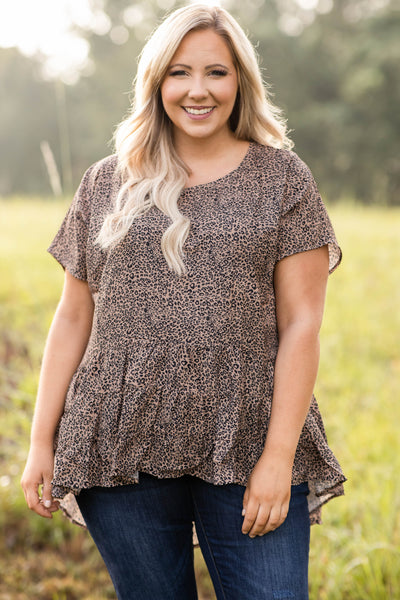 top, casual top, babydoll top, brown, leopard, short sleeve