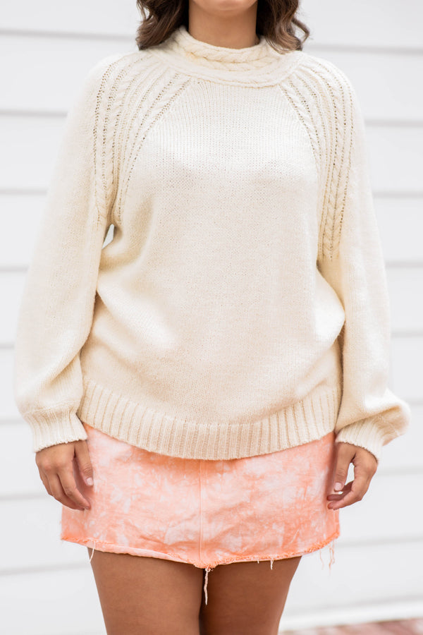 cream, sweater, top, comfy, cozy, over sized, long sleeve, cable knit, detail, neutral, solid