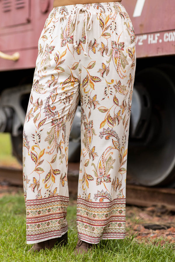 ivory, pants, wide leg, tie waist, floral, long, multi colored, flowy, figure flattering
