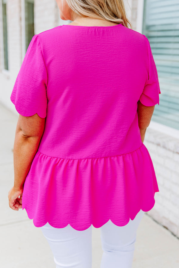 shirt, short sleeve, babydoll, peplum, scalloped hems, loose, pink, comfy, bright