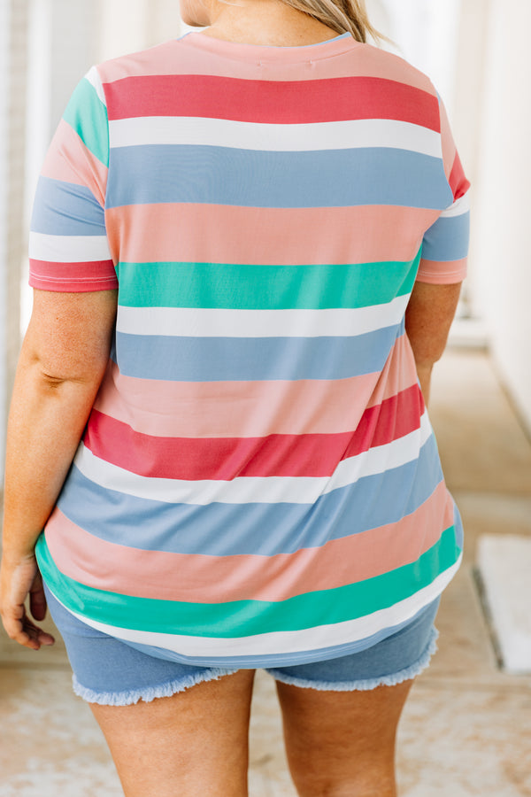 shirt, short sleeve, twisted hemline, longer back, loose, blue, white, green, pink, striped, comfy