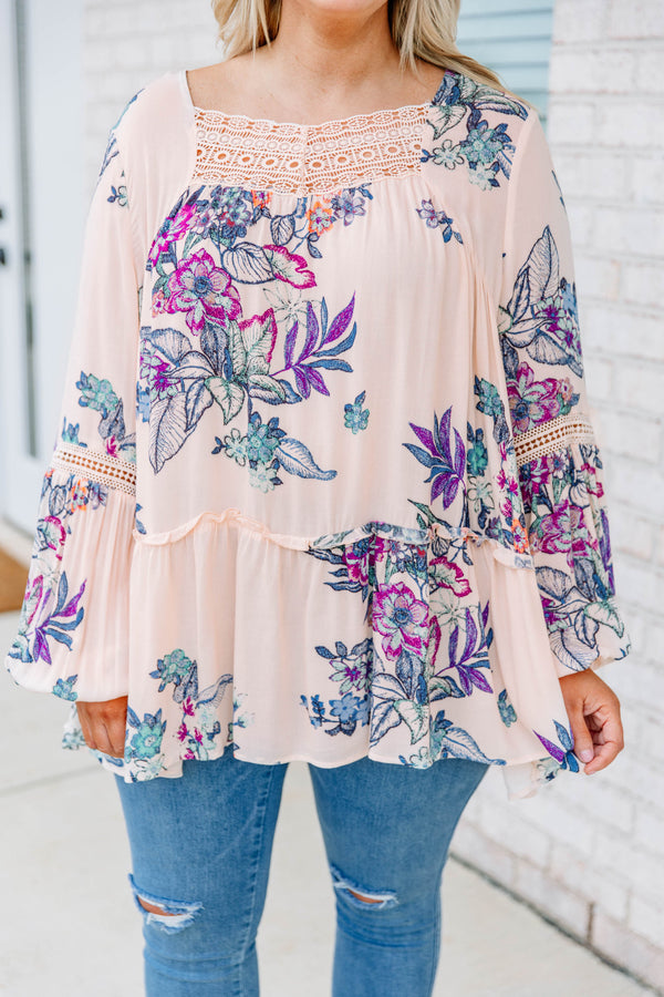 shirt, long sleeve, bubble sleeves, ruffle, lace neckline, long, flowy, pink, floral, fuchsia, purple, blue, comfy, cutout back