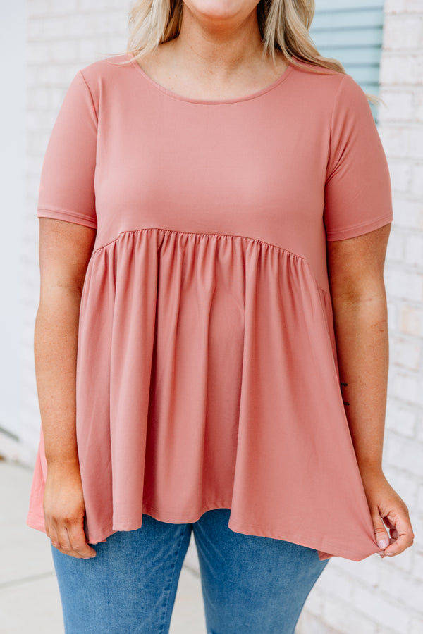 shirt, short sleeve, babydoll, long, longer back, flowy, pink, comfy