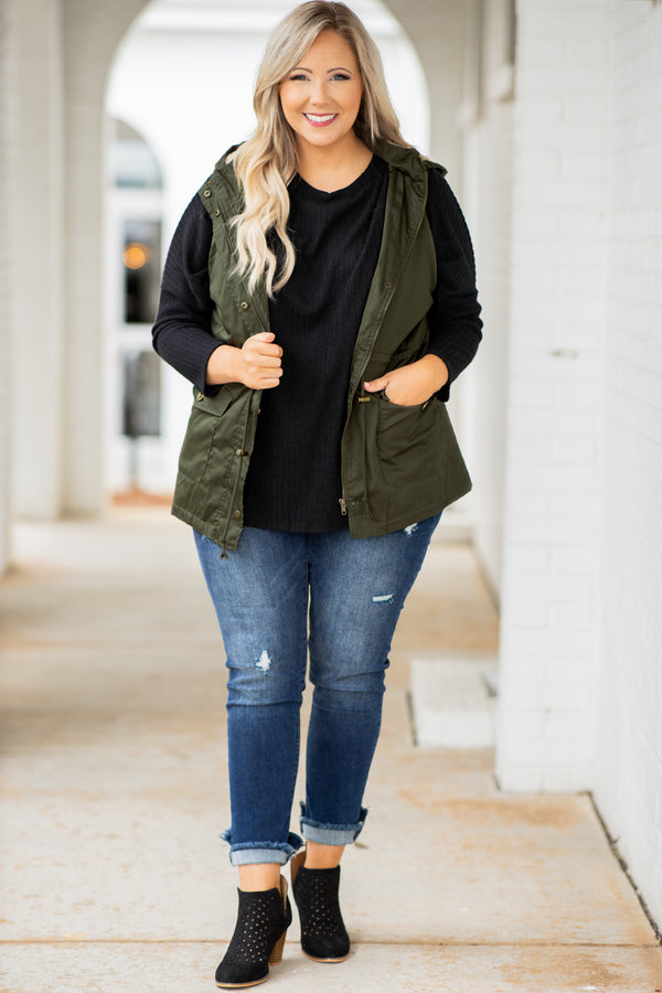 top, vest, green, solid, sleeveless, olive, zip