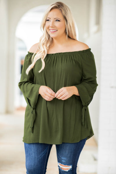 top, casual top, off the shoulder, green, olive, solid, textured, tie sleeves, long sleeves, fall