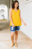 tank, thick straps, long, flowy, scoop neck, gold, comfy, spring, summer