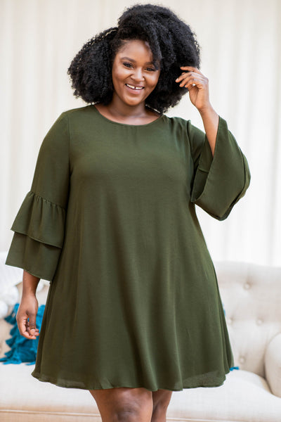 solid, neutral, olive, dress, ruffles, sleeves, round neck, flowy, figure flattering, comfy