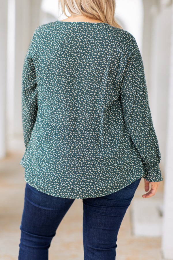 top, casual top, green, floral, long sleeve, v-neck,