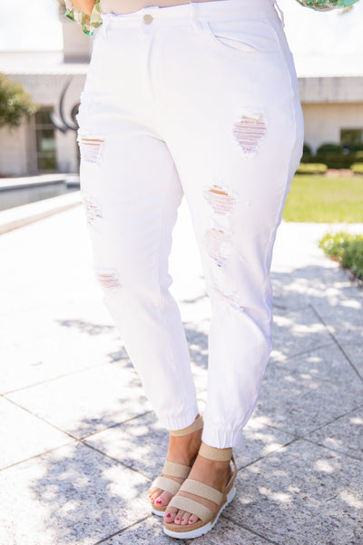 pants, white, distressed, cinched ankles, long, ankle length