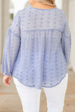 top, shirt, long sleeve, swiss dot, blue, polka dot, light weight, loose, comfy