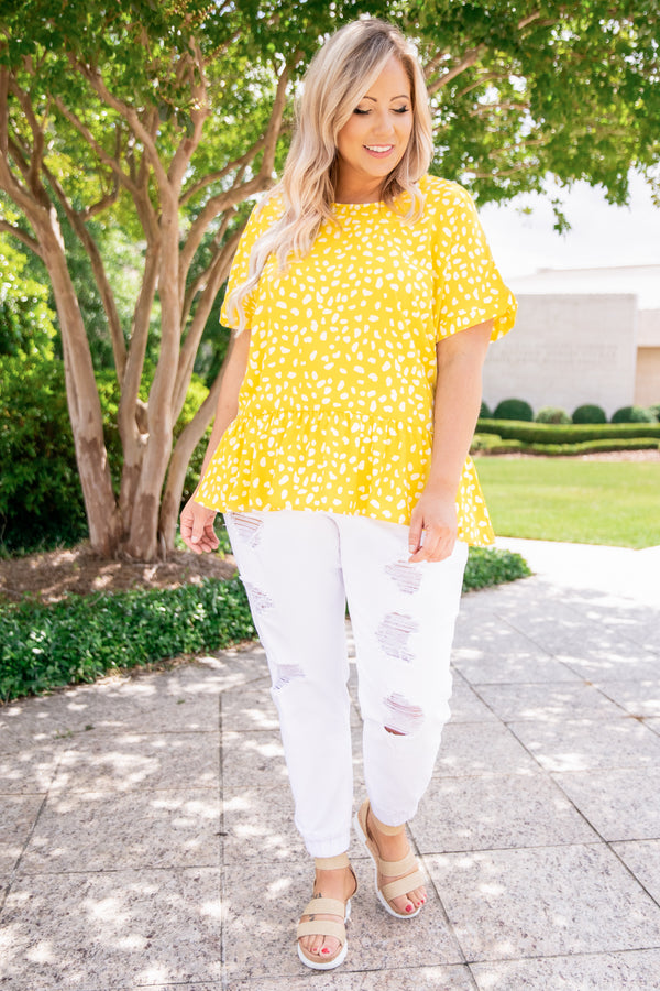 shirt, short sleeve, babydoll, yellow, leopard, loose, comfy, spring, summer
