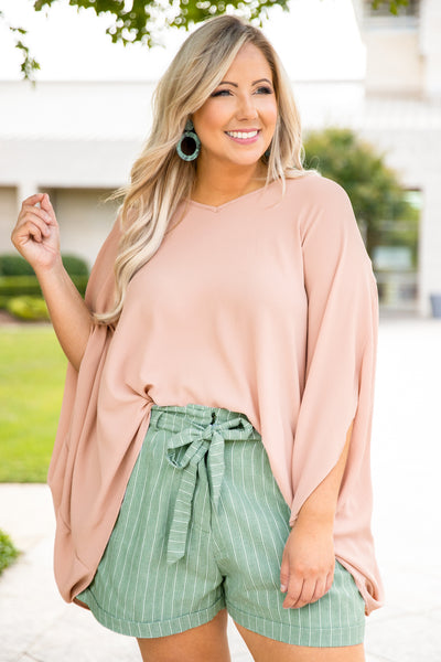 shirt, loose sleeves, loose, comfy, v neck, light mocha