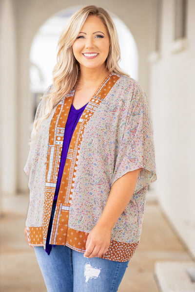 kimono, top, open front, short sleeve, mixed prints, taupe, rust, loose, comfy
