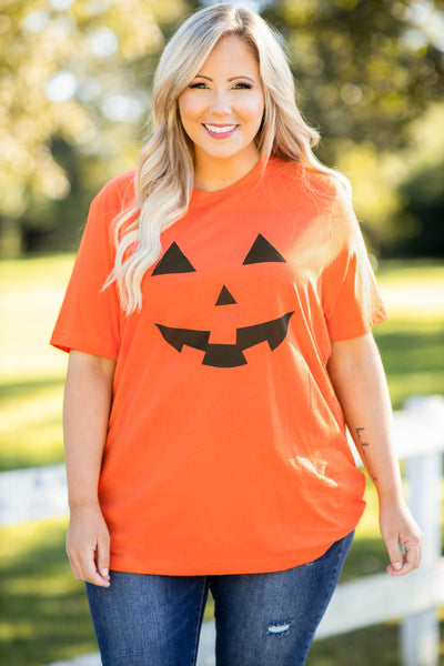 top, tee, graphic, orange, black, pumpkin, jack-o-lantern, halloween