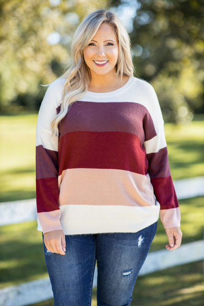 top, sweater, red, striped, long sleeve, scope neck