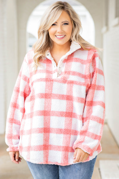 pullover, top, blush, cream, print, pattern, plaid, comfy, long sleeve, buttons