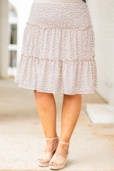 bottoms, skirt, knee length, flowy, tiered, leopard, taupe, white, loose, comfy