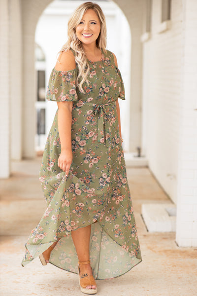 dress, maxi dress, long, floral, waist tie, off the shoulder, cold shoulder, olive, pink, short sleeve, loose, comfy