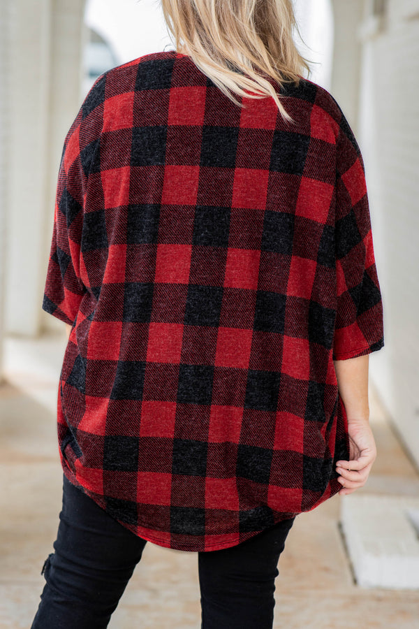 top, cardigan, plaid, red, black, bubble sleeve, open front