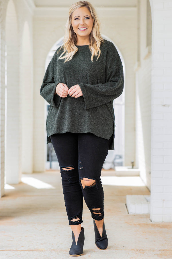 top, sweater, solid, neutral, flowy, wide sleeves, split hem, hunter green, round neck