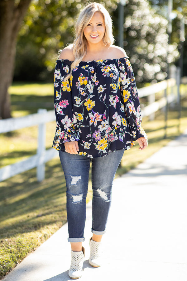 top, casual, blue, navy, floral, bubble sleeves, long sleeves