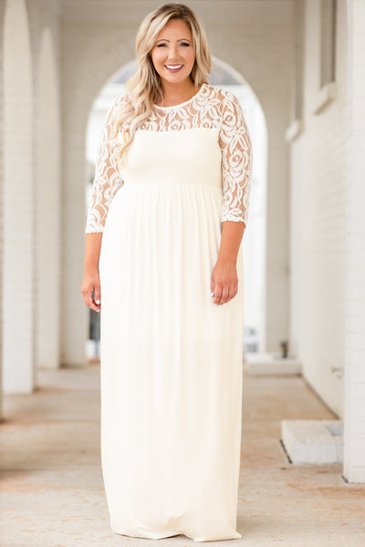 dress, maxi dress, long, floor length, lace sleeves, lace neckline, ivory, cinched waist, figure flattering