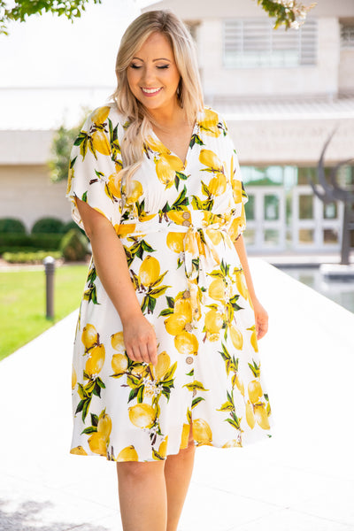 dress, short, button front, tie front, v neck, loose, comfy, lemons, white, yellow, green, spring, summer