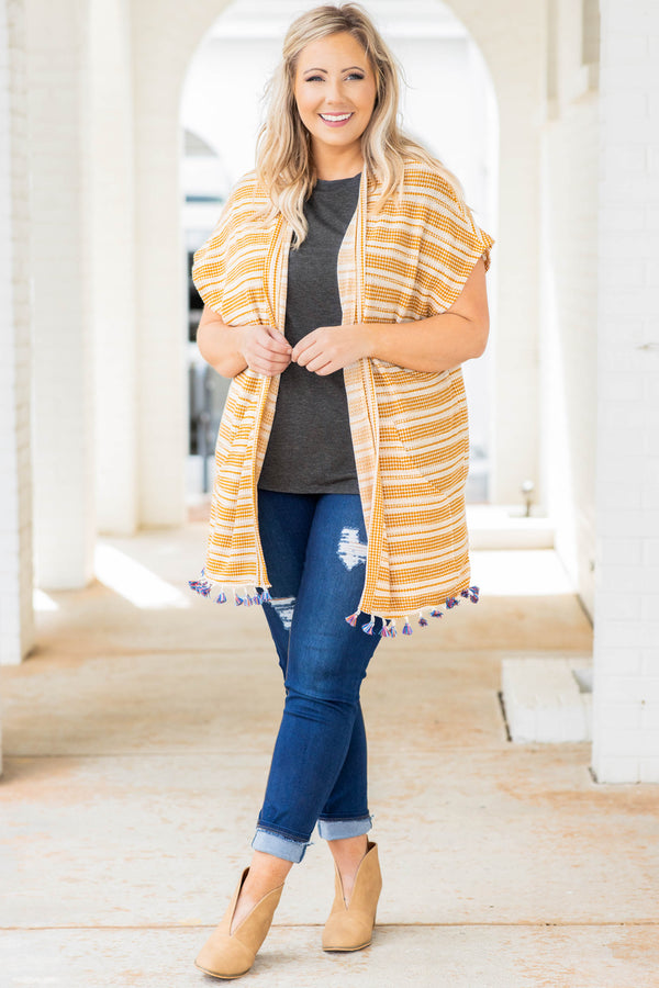top, vest, yellow, striped, tassel, short sleeve