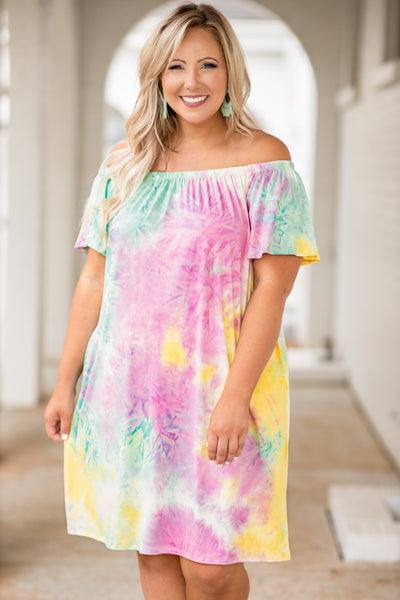 dress, short dress, off the shoulder, loose, comfy, tie dye, multi, pink, green, yellow, white, summer, spring