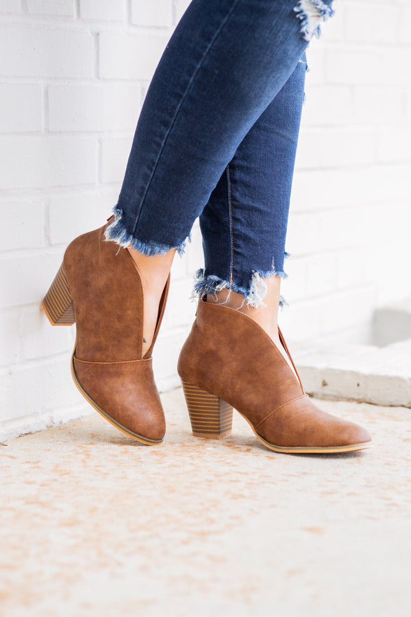 boots, booties, rust, shoes, heel, neutral, solid