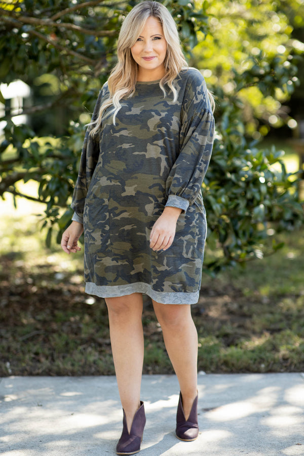 dress, casual dress, black, camo, camoflauge, long sleeve, pockets, comfy, casual, flattering