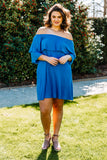 dress, short, three quarter sleeve, off the shoulder, ruffle top, flowy, blue, comfy