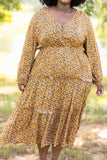 figure flattering, baby doll, long sleeve, tiered, ruffles, round neck, balloon sleeves, dress