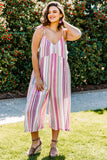 jumpsuit, tank, cropped pants, spaghetti straps, tie straps, vneck, wide leg, loose, pink, white, orange, blue, striped, comfy, spring, summer