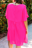 dress, short, short sleeve, vneck, babydoll, flowy, hot pink, bright, comfy, spring, summer