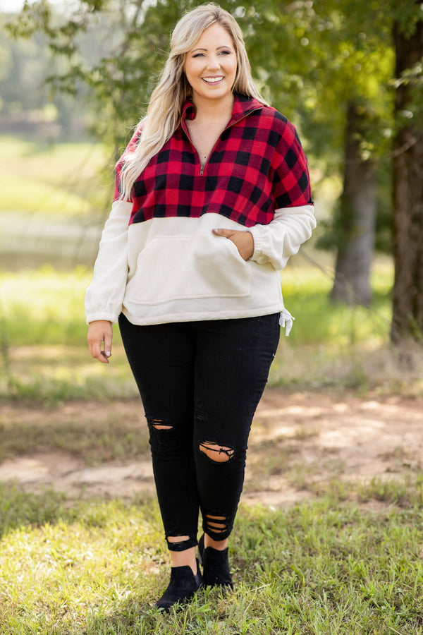 plaid, pullover, zipper, pattern, collar, cream, red, long sleeve, pockets, comfy, cute